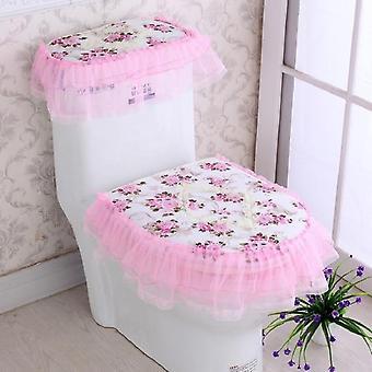Lace Design, Toilet Seat Cover-drie piece set