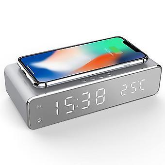 Usb digitale led bureau wekker met thermometer draadloze oplader voor samsung xiaomi huawei (zilver)