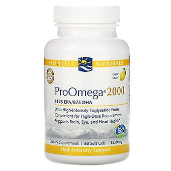 Nordic Naturals, ProOmega 2000, Lemon, 1,250 mg, 60 Soft Gels