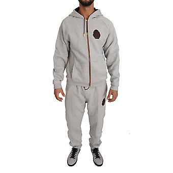 Šedý bavlnený sveter nohavice tepláková súprava BIL1010-1
