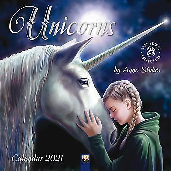 Unicorn Calendar 2021 Anne Stokes Unicorns Official Wall Calendar 2021, 12 Months, Staple Binding, English Version.