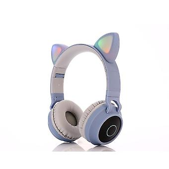 Cute Cat Shape, Bluetooth 5.0 Wireless Hifi Stereo Bass, Casque avec led