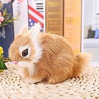 Mini Realistic White Plush-rabbits Fur Lifelike-animal Rabbit Toy Model