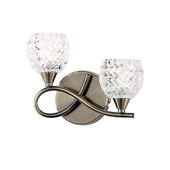 Endon Boyer - 2 Light Indoor Wall Light Antique Brass avec verre, G9