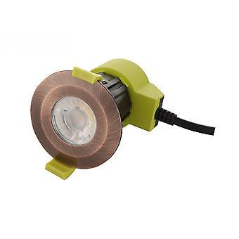 Ściemnialna dioda LED wpuszczona downlight, antique copper, 38 st. Kąt belki, 840lm, 5000K, IP65, STEROWNIK W ZESTAWIE