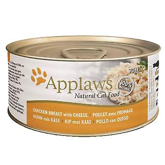 24 x 70g Applaws Natural Cat Wet Food Chicken Meat Cheese Natuurlijke Pet Snack