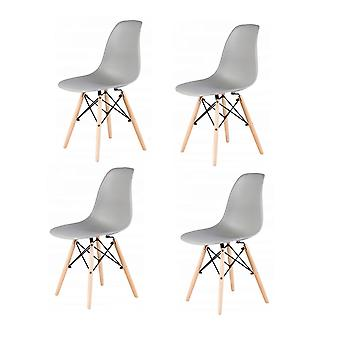 Set of 4 dining chairs - wood & plastic seat - grey