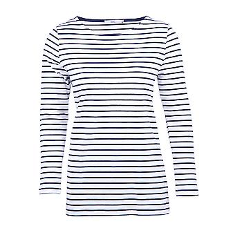 Billie Striped Breton Top in Ivory and Navy