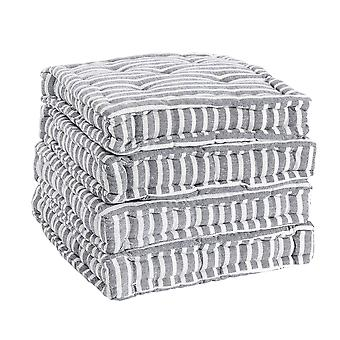 Nicola Spring Square Padded French Mattress Dining Chair Cushion Seat Pad - Grey Stripe - Pack of 4
