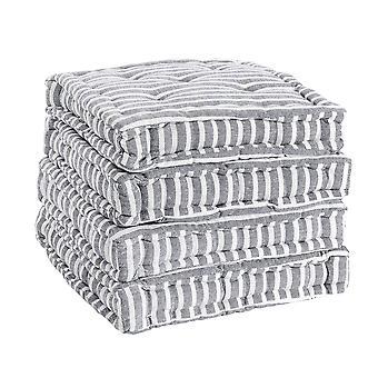 Nicola Spring Square Gewatteerde Franse matras eetkamerstoel kussen stoelpad - Grey Stripe - Pack van 4