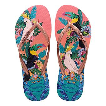 Havaianas Slim Tropical Flip Flops - Silkkiruusu