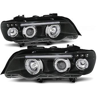 Scheinwerfer dual halo Felgen BMW X5 E53 09 99-10 03 ANGEL EYES BLACK