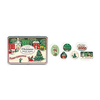 Cavallini Vintage Christmas Gift Tag Tin Set of 36 Glittered Xmas Tags