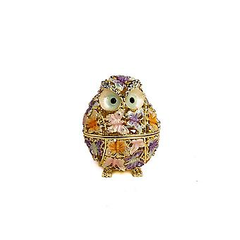 Golden Owl Decorated With Butterflies Trinket Box