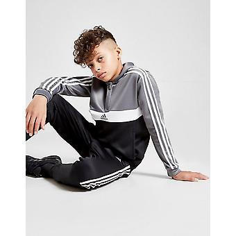 Neue adidas Originals Boys' 1/2 Zip Poly Kapuzen-Tracksuit Schwarz