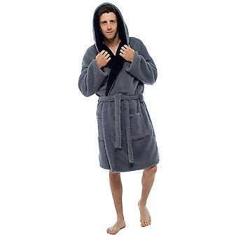 Мужская капюшоном Shaggy Fleece Халат платье