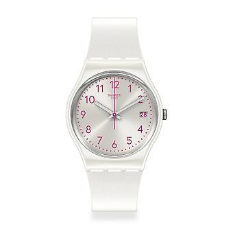 Relógio de silicone branco de Gw411 Pearlazing de Swatch