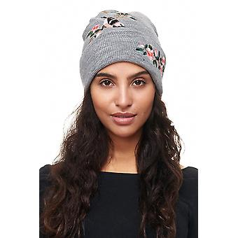 Ladies Beanie Cap Beanie FLOWER BIRD Knitted Hat Pattern Design