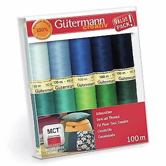 Gutermann Sew-All Blues och Greens Set - 100% PolyesterTråd 100m - 10 Hjul