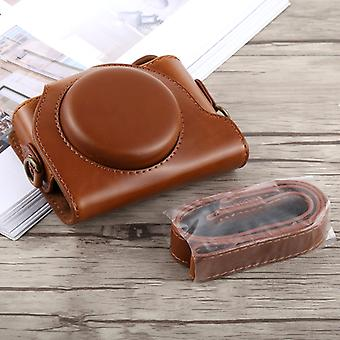 Full Body Camera PU Leather Case Bag with Strap for Sony DSC-HX90(Brown)