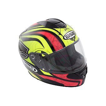 GSB G-350 Full Face Motorsykkel hjelm gul rød Hi-Vis Grafisk