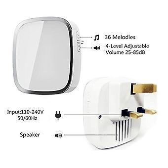 Doorbell Radio Bell - 1 Transmitter & 2 Receivers - Doorbell Set 36 Ringtones 4 Volume Levels 280m Range