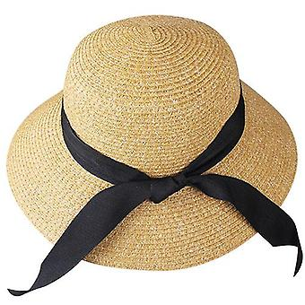 Beach Sun Hat Paille Panama Fedora Large Brim Uv Protection Summer Cap For Female