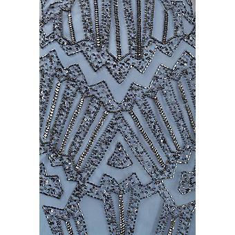Vestido de malla de aleteo sin mangas diamond Cut Back Beaded