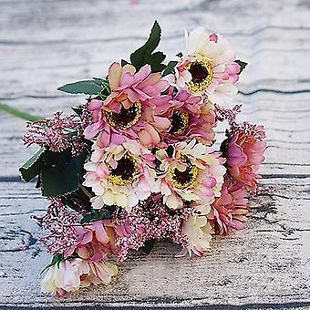 ヘッドミニシルク造花、デイジー結婚式のテーブル、家の花瓶の装飾、