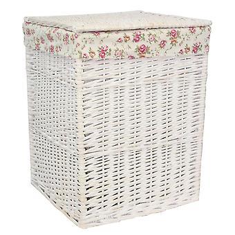 Kleine quadratische weiß Waschen Wicker Wäschekorb Rose Futter
