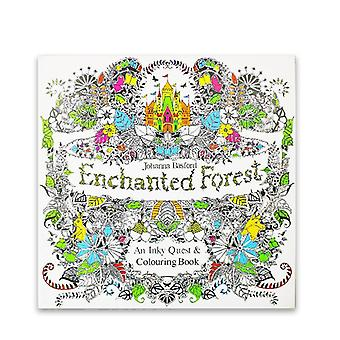 24 Pages English Edition Enchanted Anti Stress Painting Drawing Coloring Books