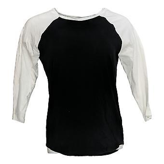 Rachel Hollis Ltd Women's Top 3/4 Sleeve Baseball T-Shirt Black A374138