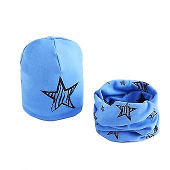 Plush Hat Scarf Set, Stars Print Collar