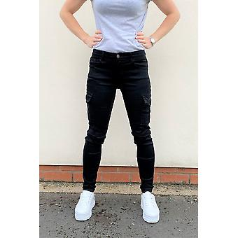 Slim Stretch Cargo Pants - Black