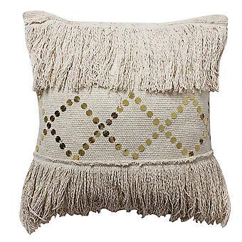 18 X 18 Main tissé oreiller frange en coton avec détails sequin, beige