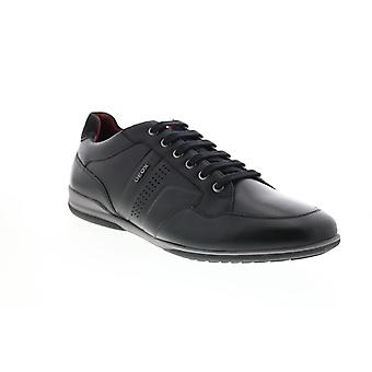 Geox U Timothy Mens Black Leather Strap Euro Sneakers Chaussures