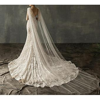 Diamond Top Cape Bridal Shawl Cathedral Length Tulle Long Veil