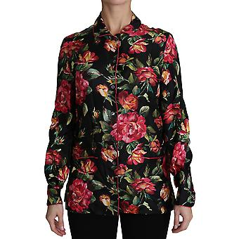Sort rose langærmet silke blomsterprint top