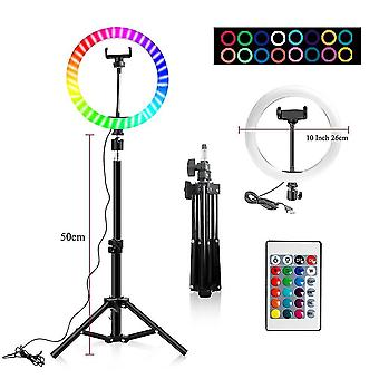 """10"""" Rgb ring lamp with tripod stand and wireless remote, 16 light led colors"""