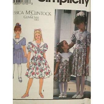 البساطة نمط الخياطة 8255 الفتيات الطفلات اللباس حجم 7-12 uncut