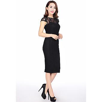 שיק כוכב פלוס גודל 1950 תחרה כיסוי שמלה בשחור