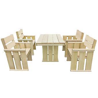 Juego de comedor al aire libre de 5 piezas impregnado de madera de pino