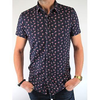 Navy Flamingo Short-Sleeved Shirt