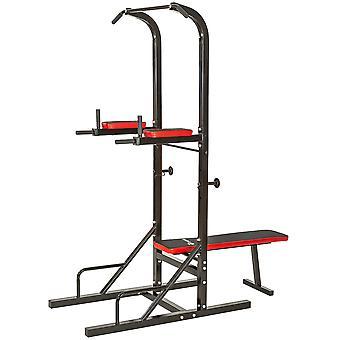 tectake Multifunktionel træningsstation - styrketræning dip-station chin-up - sort
