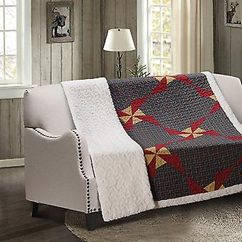 Spura Home Patchwork In the Country Blue Transitional Quilted Sherpa Throw