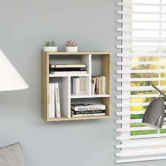 vidaXL جدار الجرف الأبيض وسونوما البلوط 45.1 × 16 × 45.1 سم اللوح
