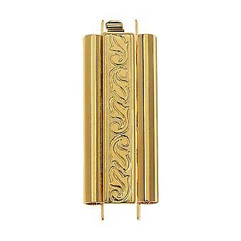 Elegant Elements Beadslides, Seed Bead Slide Tube Clasp Swirling Leaves 29x10mm, 1 Set, Gold Plated