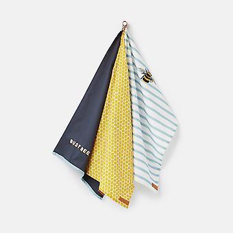 Joules Bee Stripe Set of 3 Tea Towels