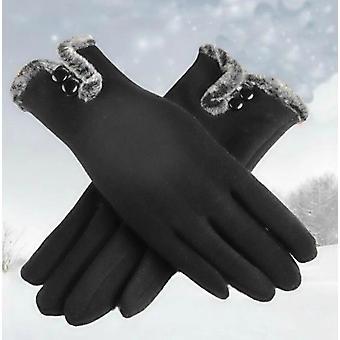 Velours non inversé femelle Cachemire plein doigt gants de dentelle chaude