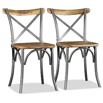 vidaXL sillas de comedor 4 piezas. Madera de mango maciza y cruvesaño de acero
